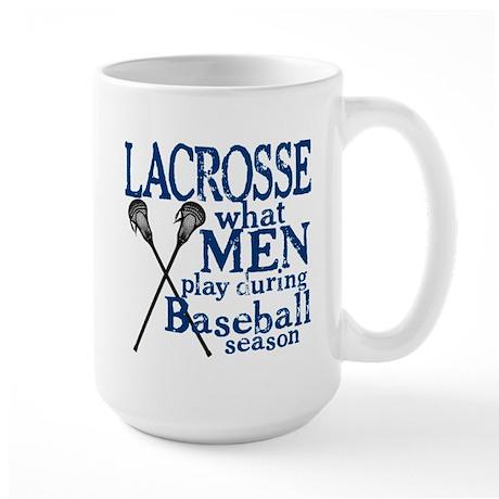 Men Play Lacrosse Large Mug