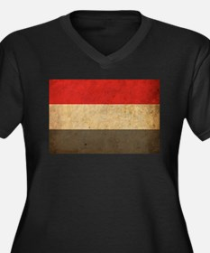 Vintage Yemen Flag Women's Plus Size V-Neck Dark T
