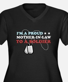 Proud MIL to a Soldier Women's Plus Size V-Neck Da