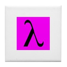 Black Lambda Pink Tile Coaster