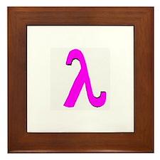 Pink Lambda Grey Framed Tile