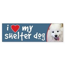 I Love My Shelter Dog Samoyed Bumper Bumper Sticker