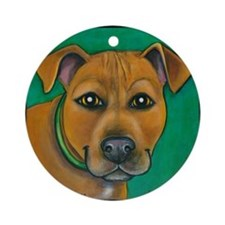 """Pit Bull Mix """"Toby"""" Ornament (Round)"""