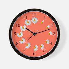 Daisy Petal Wall Clock Orange