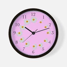 Pale Pink Daisy Clock
