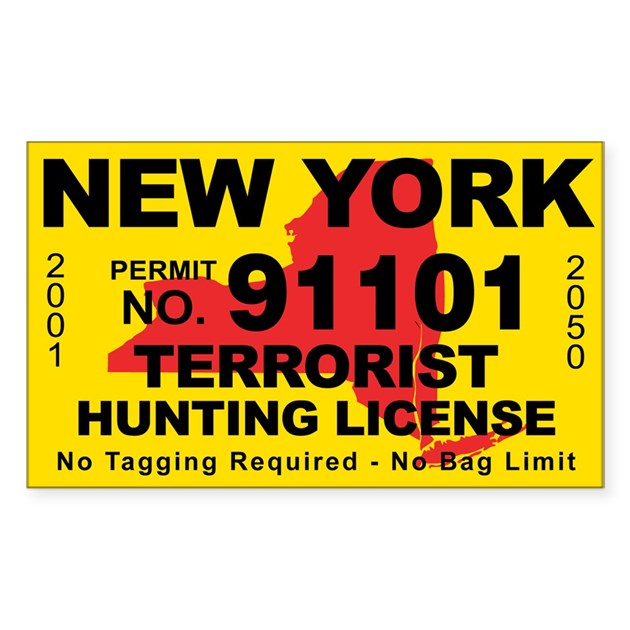 New york terrorist hunting license decal by cafestickers for Nys fishing license online