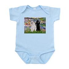 2 Poodles in Monet's Lilies Infant Bodysuit