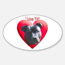 Valentines Staffordshire Bull Oval Decal