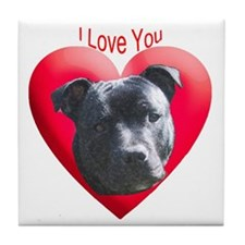 Valentines Staffordshire Bull Tile Coaster