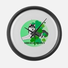 Siberian Husky Large Wall Clock