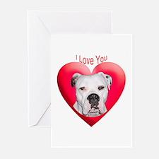 Valentines American Bulldog Greeting Cards (Packag