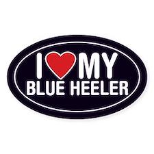 I Love My Blue Heeler Oval Sticker/Decal