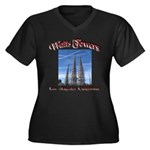 Watts Towers Women's Plus Size V-Neck Dark T-Shirt