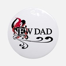 Heart New Dad Ornament (Round)