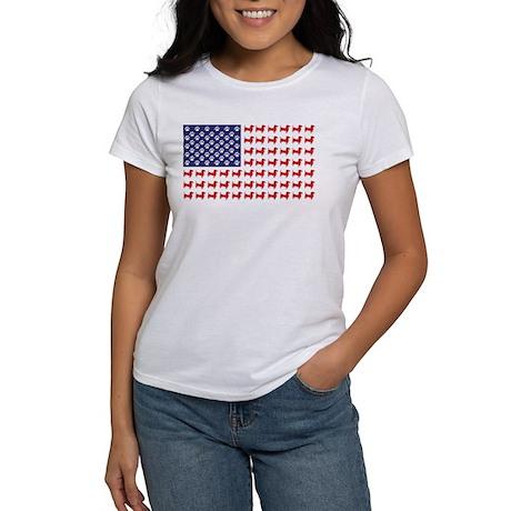 Dachshund Patriotic Flag Women's T-Shirt