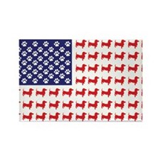 Dachshund Patriotic Flag Rectangle Magnet