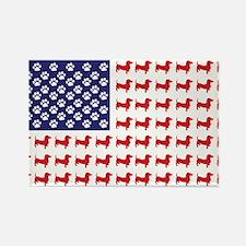 Dachshund Patriotic Flag Rectangle Magnet
