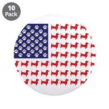 "Dachshund Patriotic Flag 3.5"" Button (10 pack)"