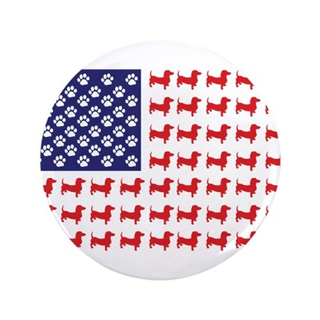 "Dachshund Patriotic Flag 3.5"" Button (100 pack)"
