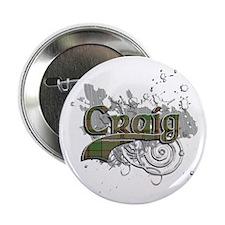 """Craig Tartan Grunge 2.25"""" Button"""