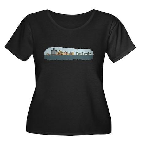 Detroit Skyline - Color Women's Plus Size Scoop Ne