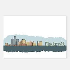 Detroit Skyline - Color Postcards (Package of 8)