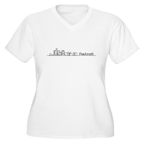 Detroit Skyline - Solid Women's Plus Size V-Neck T