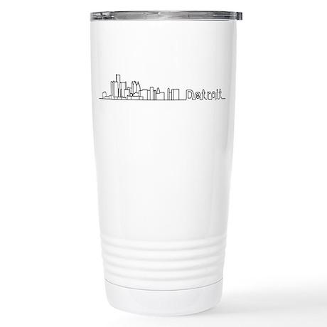 Detroit Skyline - Solid Stainless Steel Travel Mug