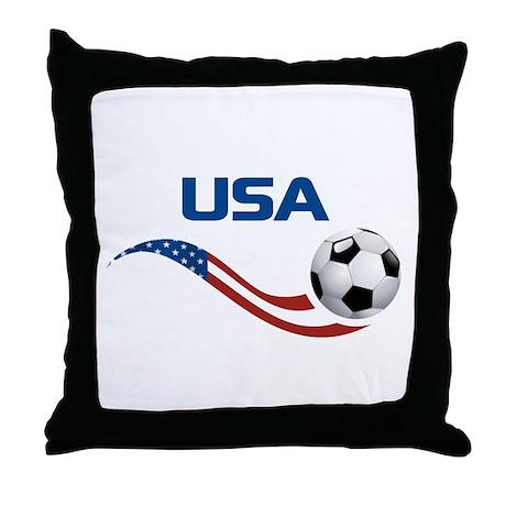 Soccer USA Throw Pillow
