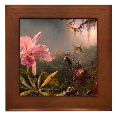 Victorian Orchid with Humming Framed Tile
