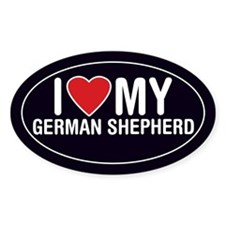 I Love My German Shepherd Oval Sticker/Decal