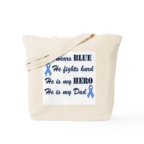 He is my Dad Light Blue Hero Tote Bag