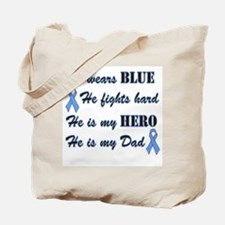 He is my Dad Light Blue Hero Tote Bag