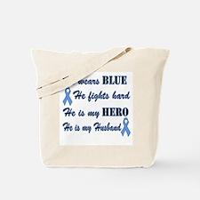 He is my Husband Light Blue H Tote Bag