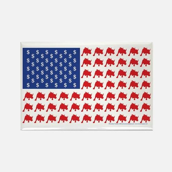 Patriotc Wall Street Flag Rectangle Magnet