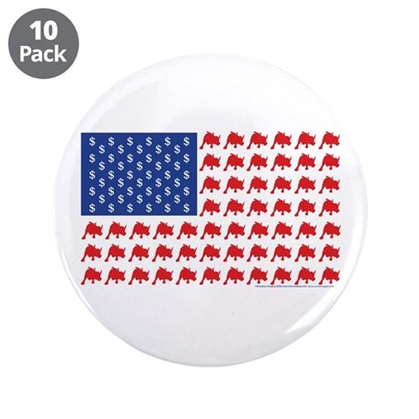 "Patriotc Wall Street Flag 3.5"" Button (10 pack)"