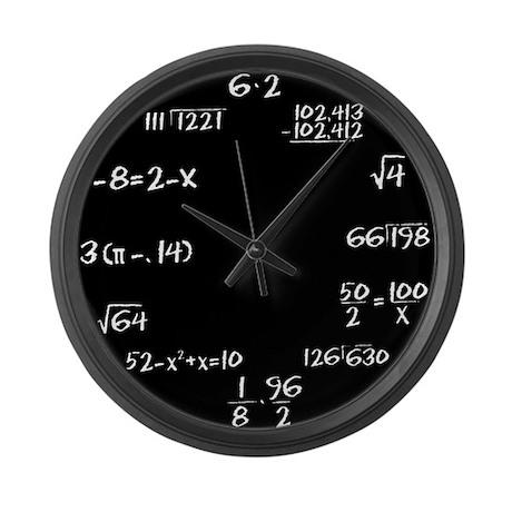Large Black Chalkboard Math Wall Clock By Shadowmoons
