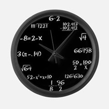 Large Black Chalkboard Math Wall Clock