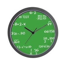 Green Chalkboard Math Wall Clock