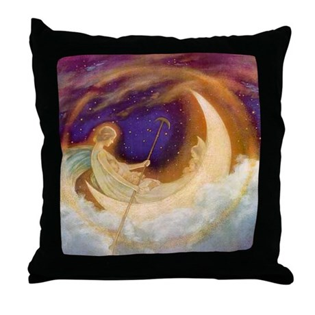 Moonboat to Dreamland Throw Pillow