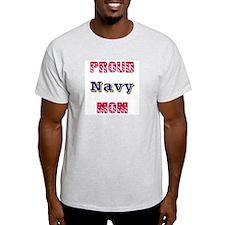 Proud Navy Mom Ash Grey T-Shirt
