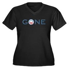 Obama is Gone Women's Plus Size V-Neck Dark T-Shir