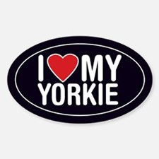 I Love My Yorkie Oval Sticker/Decal