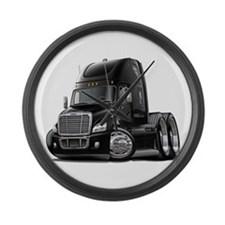 Freightliner Black Truck Large Wall Clock
