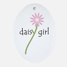 Pink Daisy Girl Oval Ornament