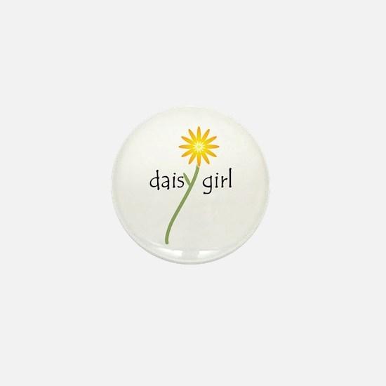 Yellow Daisy Girl Mini Button