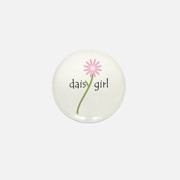 Pink Daisy Girl Mini Button