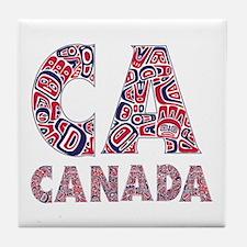 Cute Canadian totem poles Tile Coaster