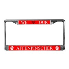 Red We Love Our Affenpinscher License Plate Frame