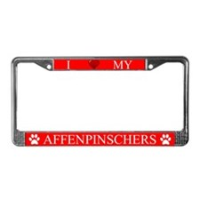 Red I Love My Affenpinschers License Plate Frame